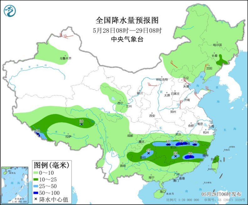 江南中南部华南等地将有强降水 华北黄淮等地多大风天气